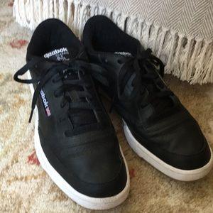 Reebok classic men's black leather sneakers size 9